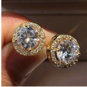 18K Yellow Gold Platted Stud Earrings A Pair/s…